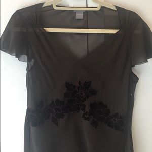 Ann Taylor Black Sheer Shirt with Flower